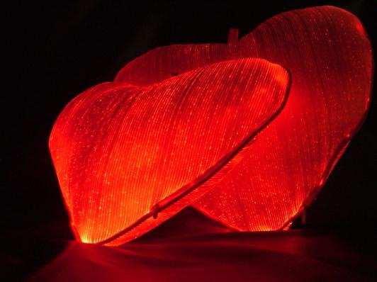 Corazones de tejido lumínico