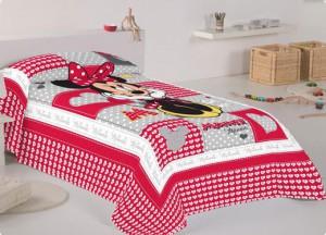 Colchas relleno fino + cojín Minnie Mouse