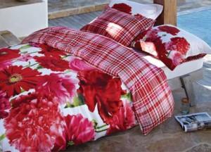 Funda nordica flores rojas algodon